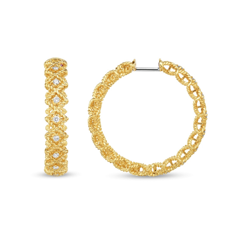 Roman Barocco Yellow Gold Large Diamond Roberto Coin Hoop Earrings