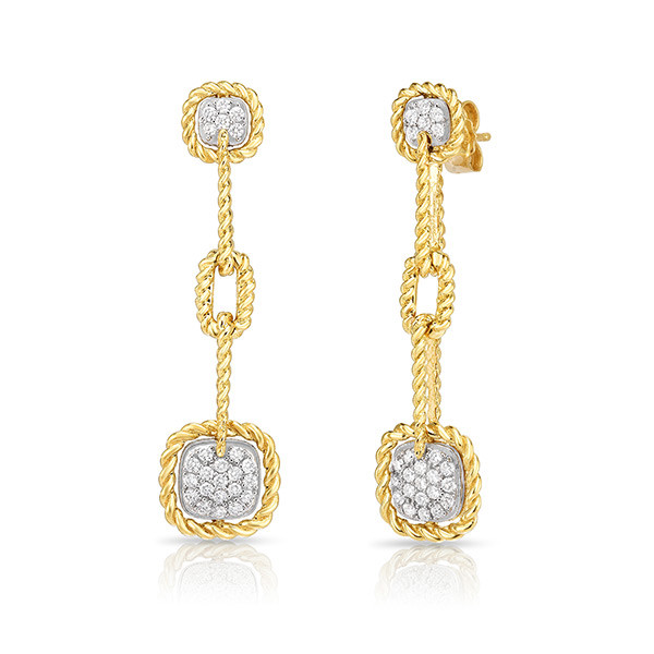 Roberto Coin Gold Diamond Dangle New Barocco Earrings