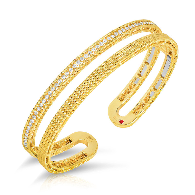 Roberto Coin Yellow Gold Two Row Diamond Barocco Symphony Cuff