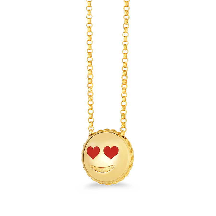 Roberto Coin Pendant Yellow Gold Love Emoji Necklace Side View