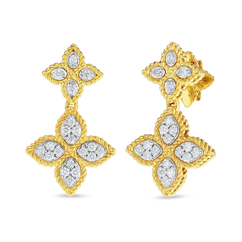 Roberto Coin Yellow Gold Princess Flower Diamond Double Drop Earrings