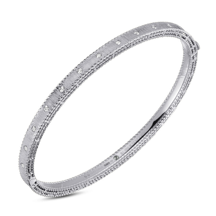 Roberto Coin White Gold & Diamond Princess Bangle Bracelet