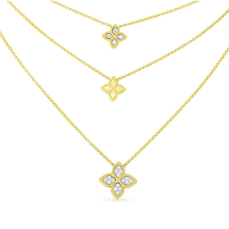 Roberto Coin Yellow Gold 3 Row Diamond Princess Flower Necklace