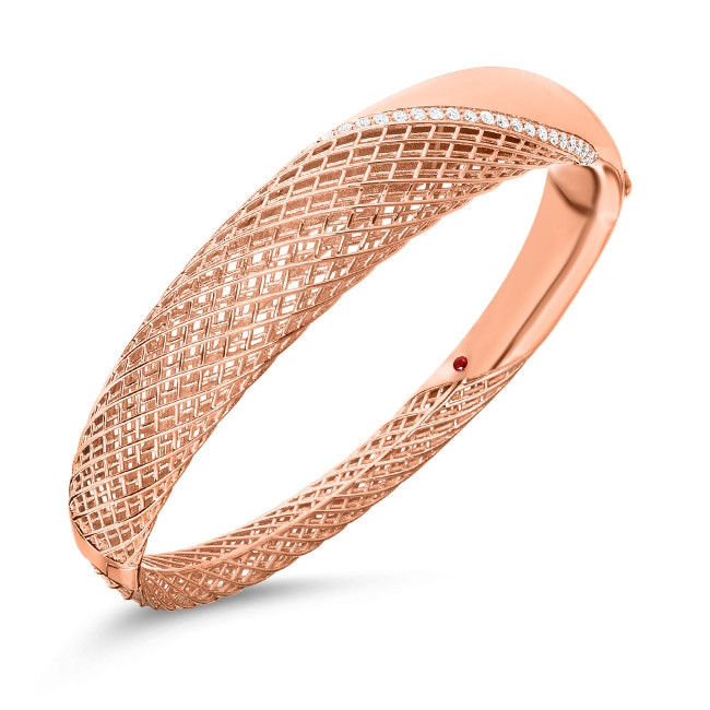 Roberto Coin Rose Gold & Diamond Rounded Soie Bangle Bracelet