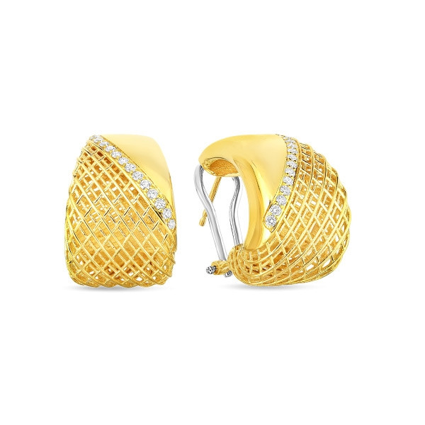 Roberto Coin Yellow Gold & Diamond Soie Dome Earrings