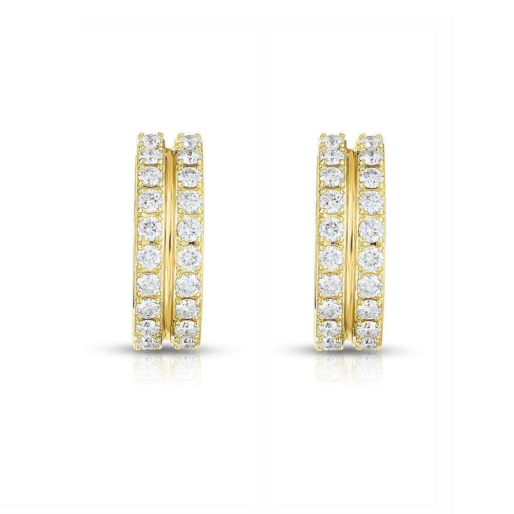 Roberto Coin Portofino 2 Row Yellow Gold Diamond Hoop Earrings