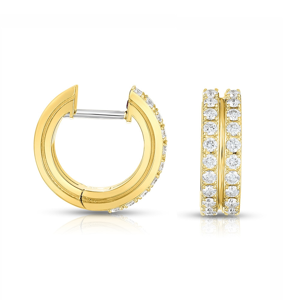 Roberto Coin Portofino 2 Row Yellow Gold Diamond Hoop Earrings Side View