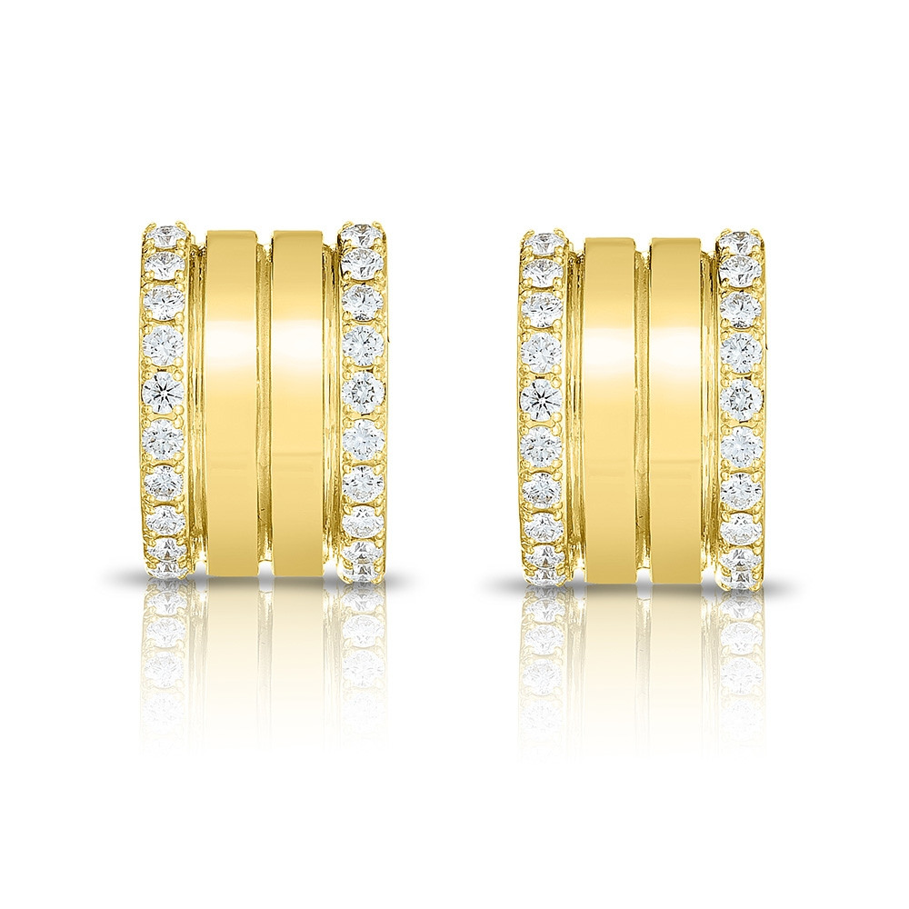 Roberto Coin Yellow Gold 4 Row Diamond Portofino Hoop Earrings