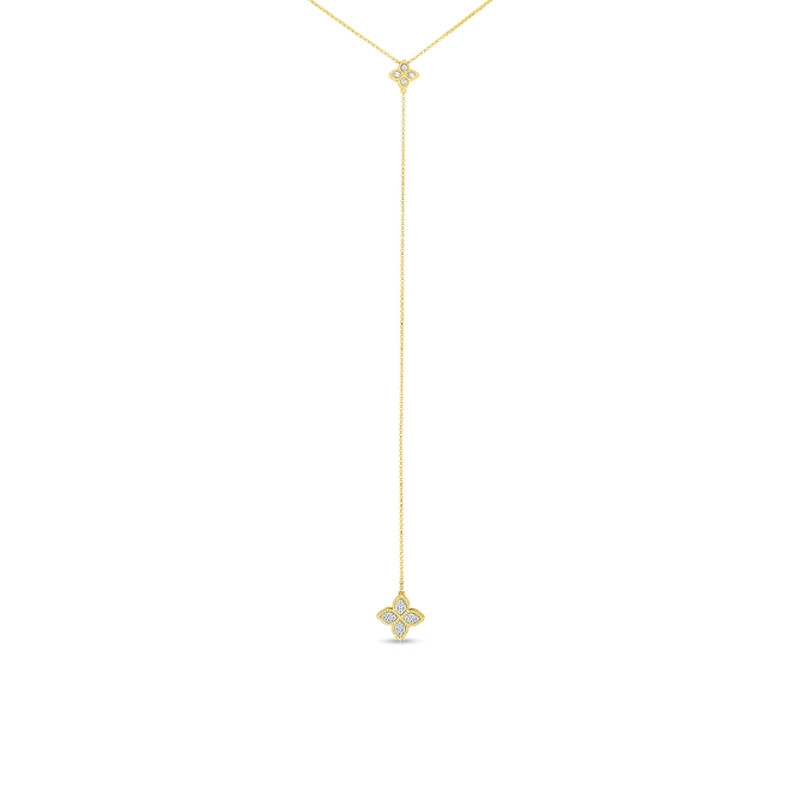 Roberto Coin Yellow Gold Princess Flower Diamond Lariat Necklace
