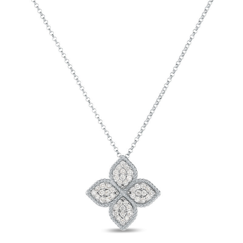 Roberto Coin Princess Flower Long Diamond White Gold Station Necklace