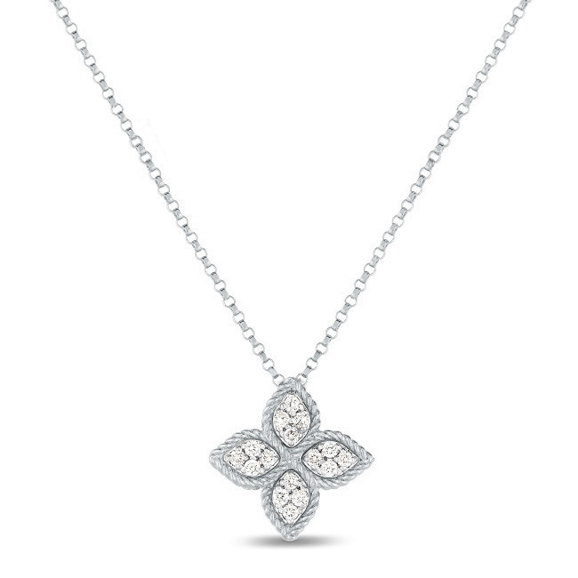 Roberto Coin Princess Flower Diamond White Gold Station Necklace