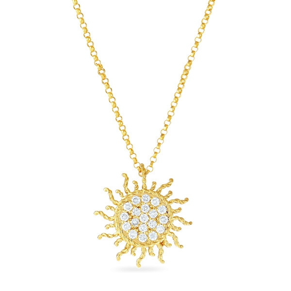 Roberto Coin Yellow Gold Tiny Treasures Diamond Sun Pendant Necklace