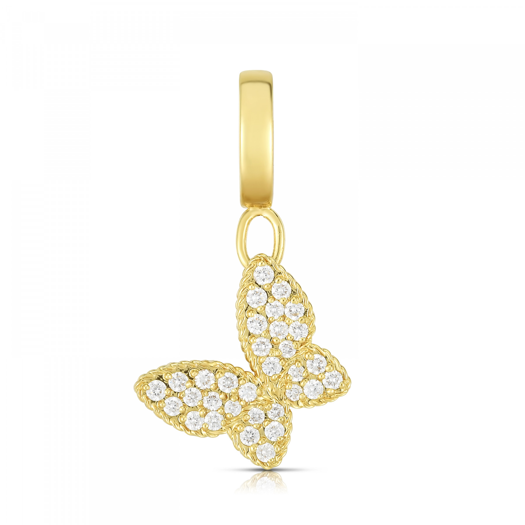 Roberto Coin Diamond Butterfly Charm in Yellow Gold