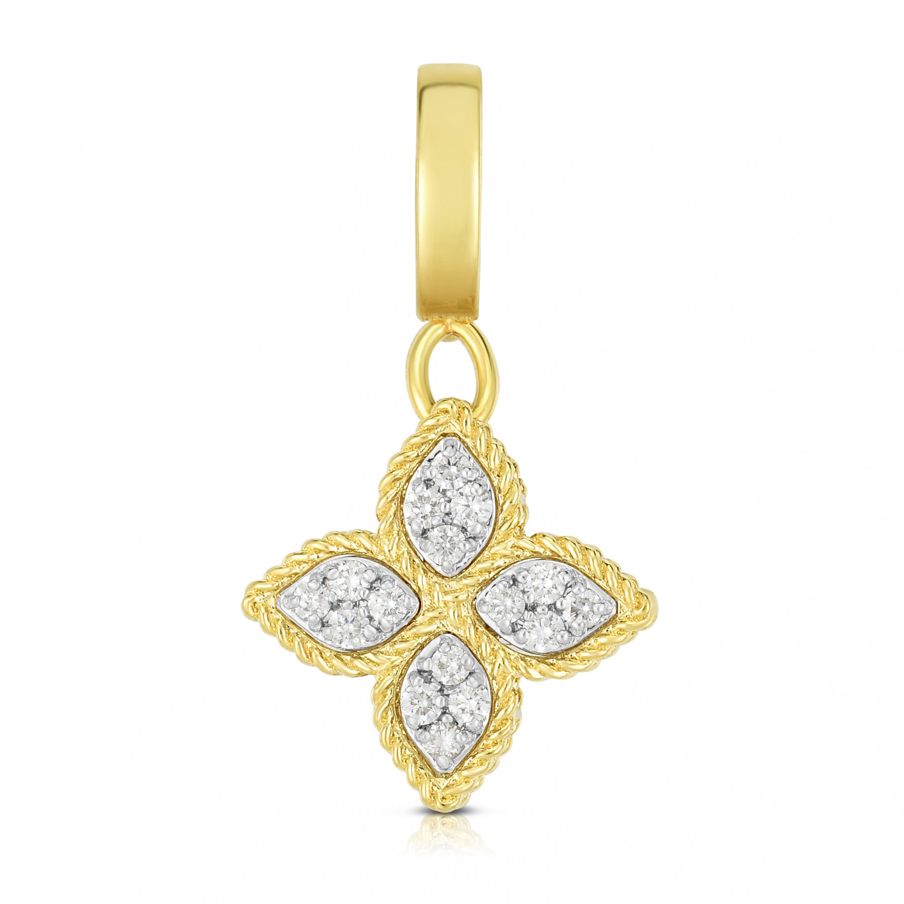 Roberto Coin Diamond Flower Charm in Yellow Gold