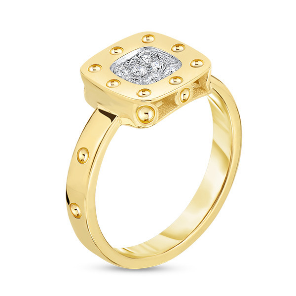 Roberto Coin Yellow Gold & Diamond Pois Moi Square Ring Side View