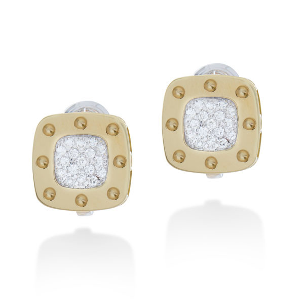 Roberto Coin Pois Moi Pave Diamond Square Earrings