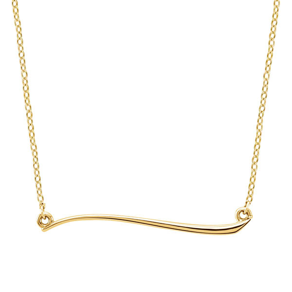Yellow Gold Freeform Bar Necklace