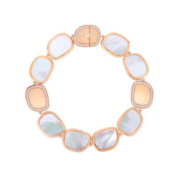 Roberto Coin Rose Gold Diamond & Mother of Pearl Bracelet