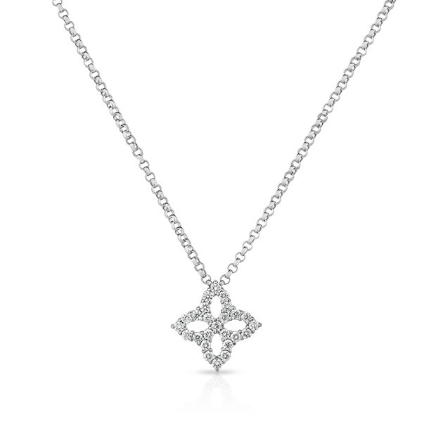 Roberto Coin Small Diamond Pendant Princess Flower Necklace