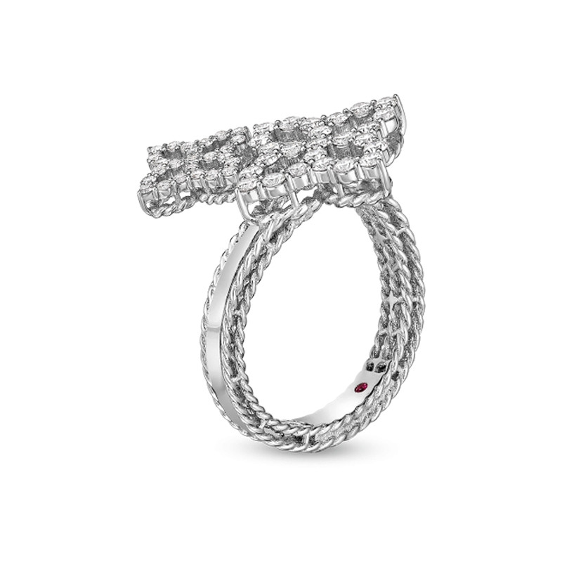 Roberto Coin White Gold Diamond Bypass Princess Flower Ring Angle View
