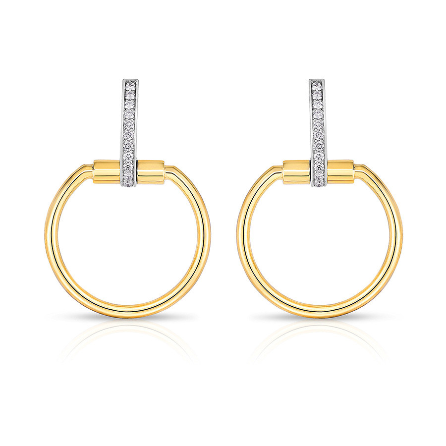 Roberto Coin Yellow Gold Small Classica Parisienne Diamond Circle Drop Earrings