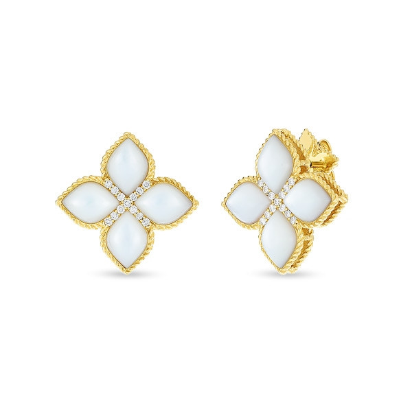 Roberto Coin Diamond & Mother of Pearl Venetian Princess Stud Earrings
