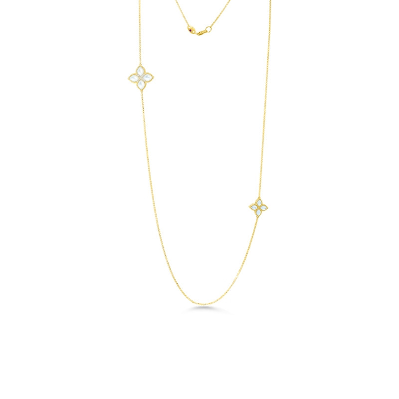 Roberto Coin Yellow Gold Diamond & Mother of Pearl Long Two Station Venetian Princess Necklace