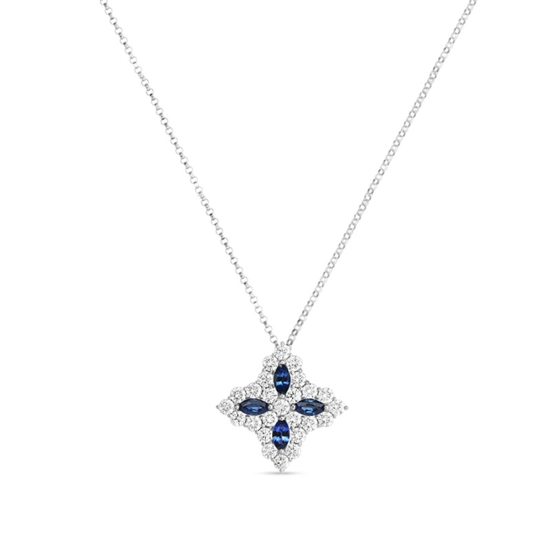 Roberto Coin White Gold Princess Flower Large Diamond & Sapphire Pendant Necklace