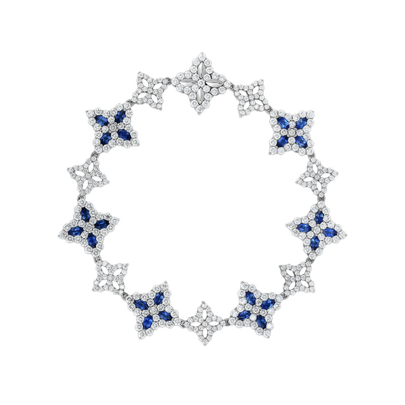 Roberto Coin White Gold Diamond & Blue Sapphire Princess Flower Bracelet