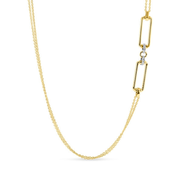 Roberto Coin Yellow Gold & Diamond Square Classica Parisienne Station Necklace Close Up