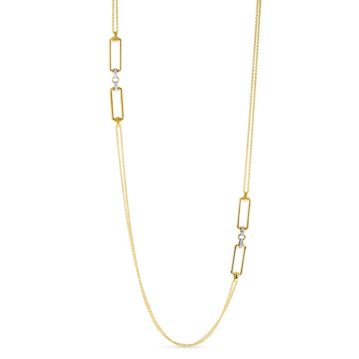 Roberto Coin Yellow Gold & Diamond Square Classica Parisienne Station Necklace