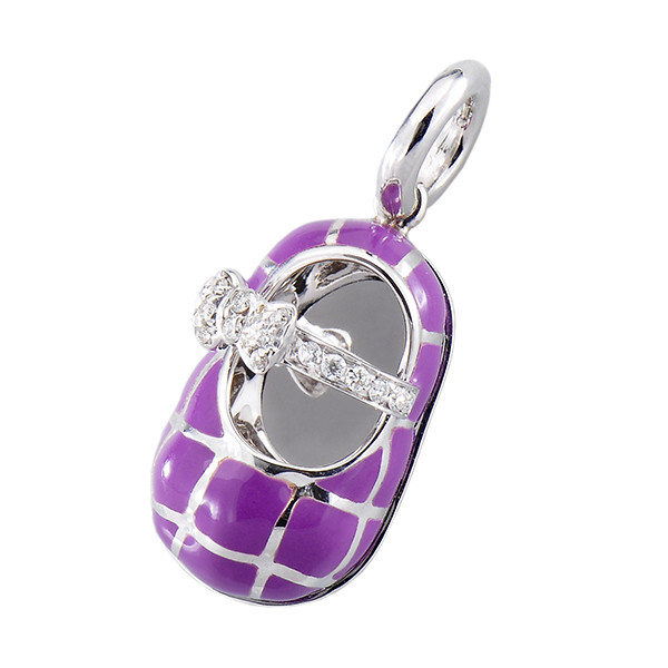Aaron Basha 18kt White Gold Violet Enamel Quilted Show with Diamond Strap