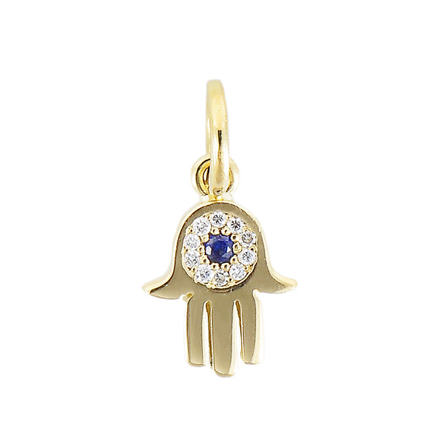 Aaron Basha Hamsa 18kt Yellow Gold with Diamond and Black Sapphire Charm