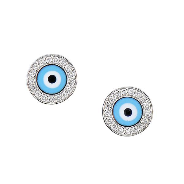 Aaron Basha 18kt White Gold Diamond and Light Blue Enamel Stud Earrings