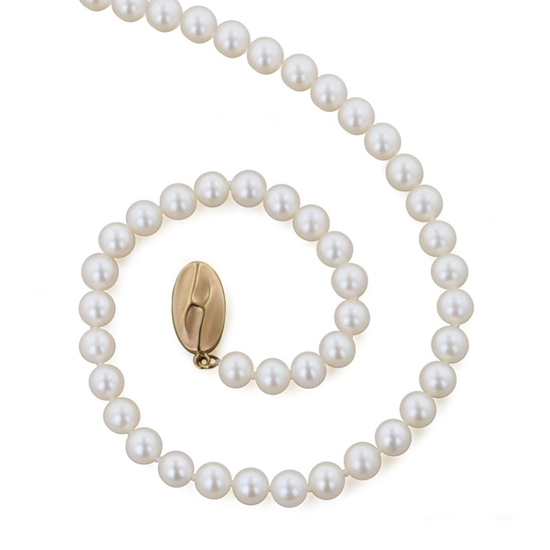 "Honora Classic White 5mm A+ Pearl 18"" Yellow Gold Necklace"