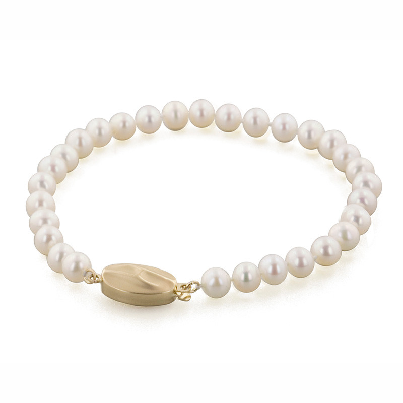 Honora Classic White 5-6mm A+ Pearl Yellow Gold Bracelet