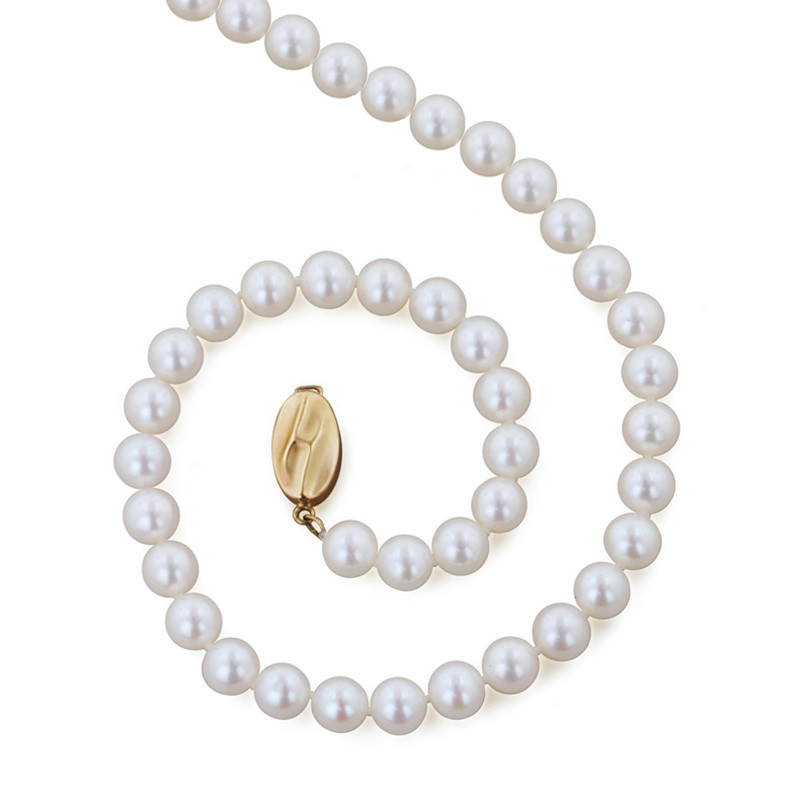 Honora Classic Bridal White 5-6mm A+ Pearl Yellow Gold Necklace