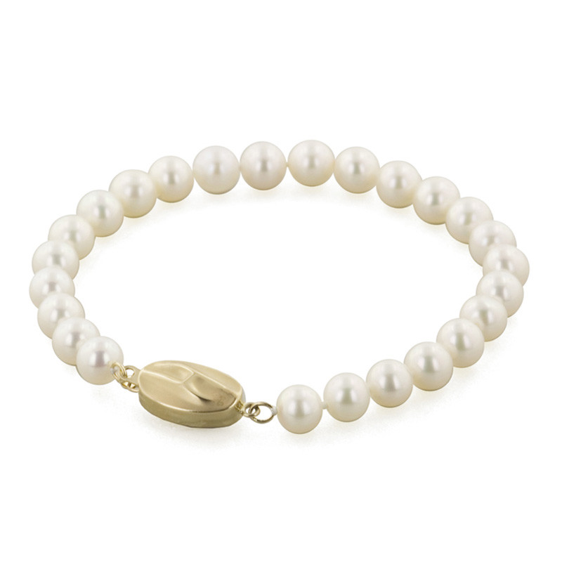 Honora Classic White 6mm A+ Pearl Yellow Gold Bracelet