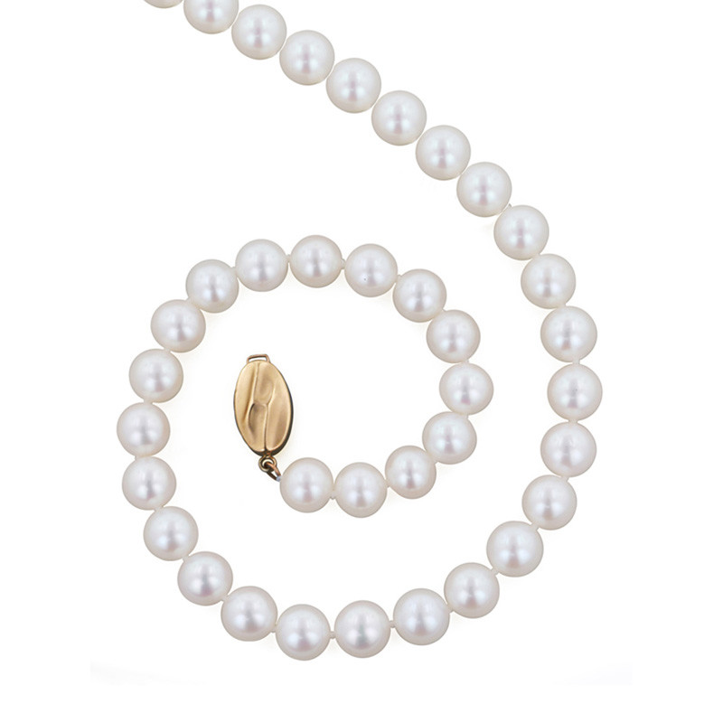 """Honora Classic White 7mm A+ Pearl 18"""" Yellow Gold Necklace"""