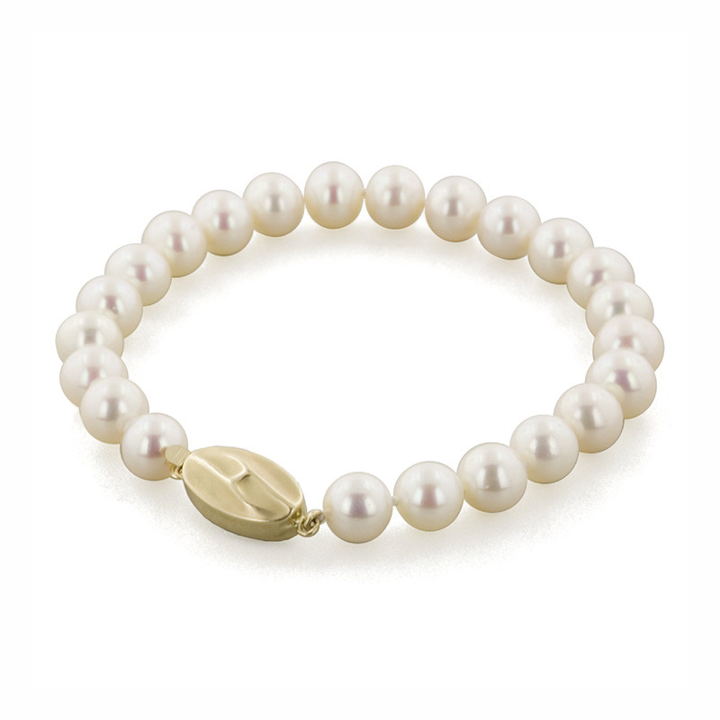 Honora Classic White 7mm A+ Pearl Yellow Gold Bracelet