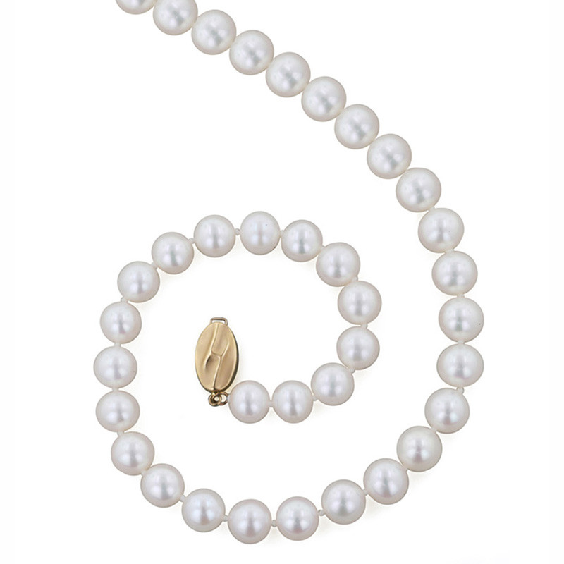 """Honora Classic White 9mm A+ Pearl 18"""" Yellow Gold Necklace"""