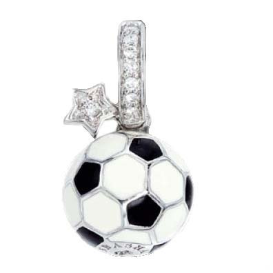 Aaron Basha Sports Soccer Ball with Pave Star 18kt Gold Charm