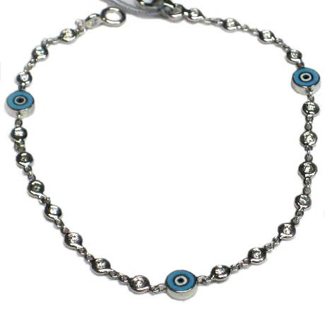 Aaron Basha Blue Evil Eye Bezel Set .35tw 18kt White Gold Bracelet
