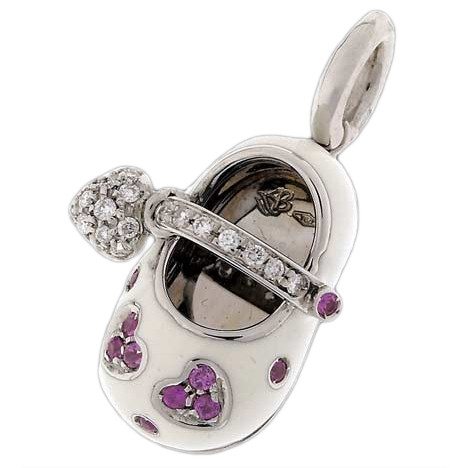 Aaron Basha Baby Shoe White with Pink Sapphire Hearts & Pave Strap