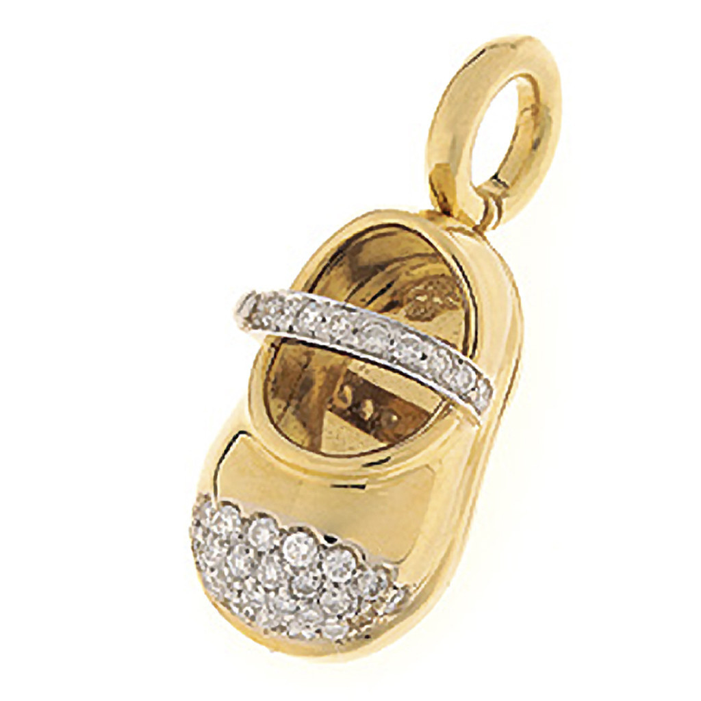 Aaron Basha Baby Shoe 18kt Yellow Gold with Diamond Toe