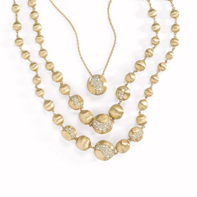 Marco Bicego Africa Constellation Diamond Yellow Gold Collar Necklace Display