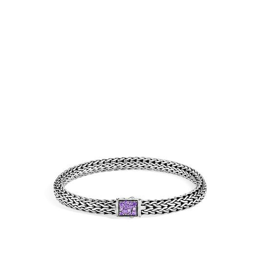 John Hardy Classic Chain Reversible 6.5mm Diamond to Amethyst Bracelet FRONT IMAGE