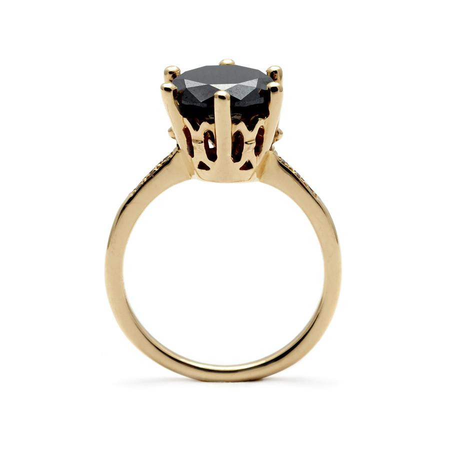 Anna Sheffield Black Diamond Engagement Ring in 14K Gold side view