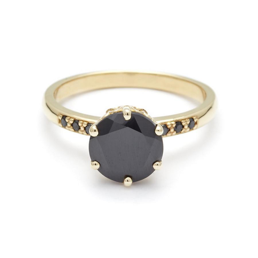 Anna Sheffield Black Diamond Engagement Ring in 14K Gold front view