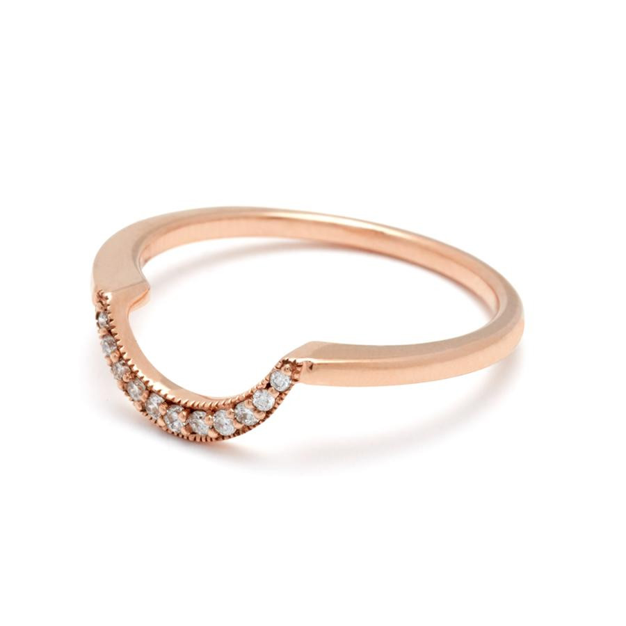 Anna Sheffield Crescent Diamond Wedding Band in 14K Gold angle view